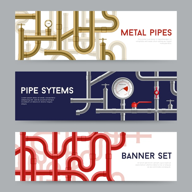 Pipe system banners set Free Vector