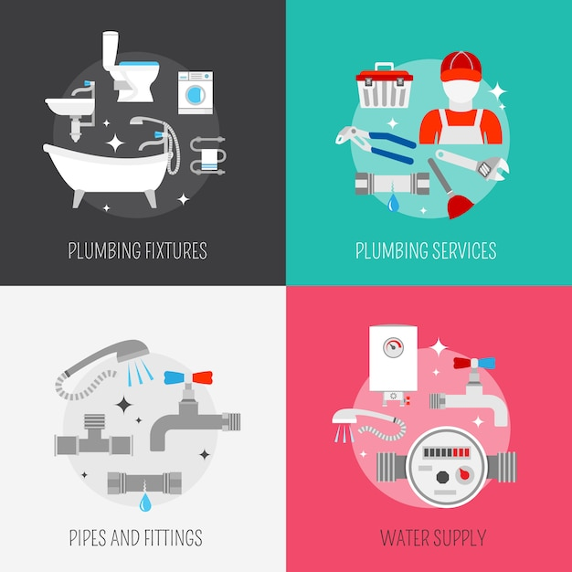 Pipeline plumbing and heating reparation service and sink drain cleaning kit flat elements composition vector isolated illustration Free Vector