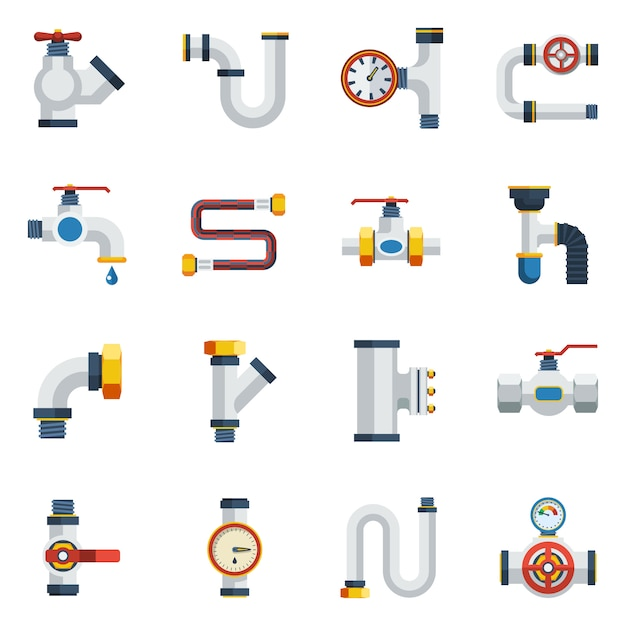 Pipes icons set Free Vector