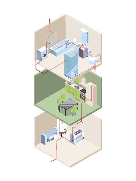 パイプの設置。温水と冷水パイプを備えた家の断面図現代のシステムは等角投影です。パイプライン断面、建設設置図 Premiumベクター