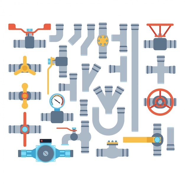 Pipes isolated set Premium Vector