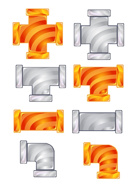 Pipes plumbing color orange and gray candy icon set. Premium Vector