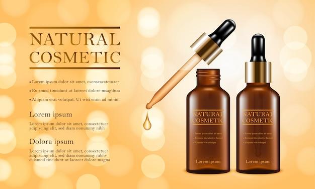 Pipette cosmetic concept background Premium Vector