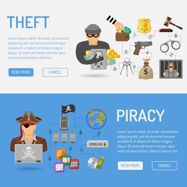 Piracy and theft banners Premium Vector