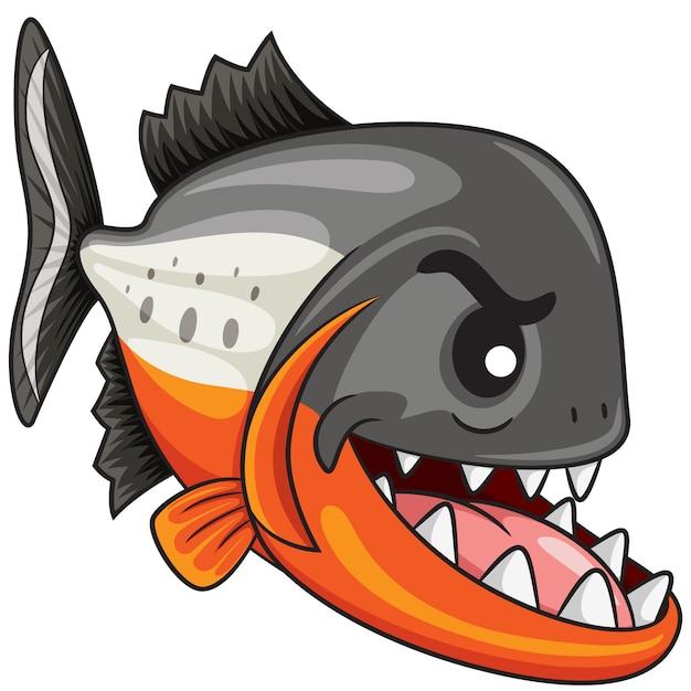 Piranha fish cartoon Premium Vector