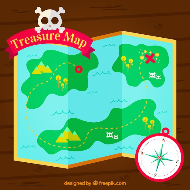 Pirate adventure background with treasure\ map