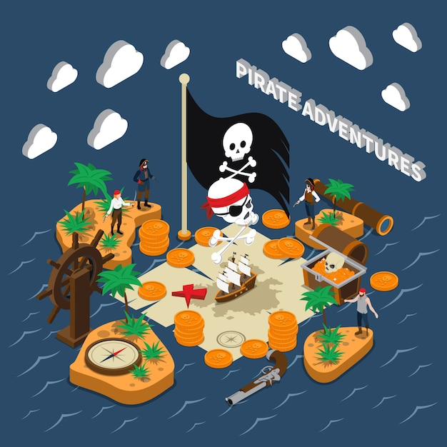 Pirate adventures isometric composition Free Vector