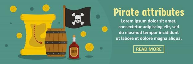 Pirate attributes banner template horizontal concept Premium Vector