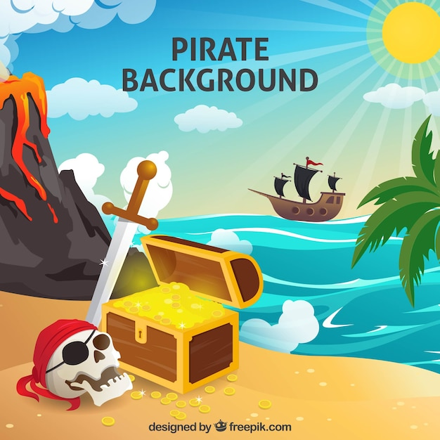 Pirate background with treasure and skull Free Vector