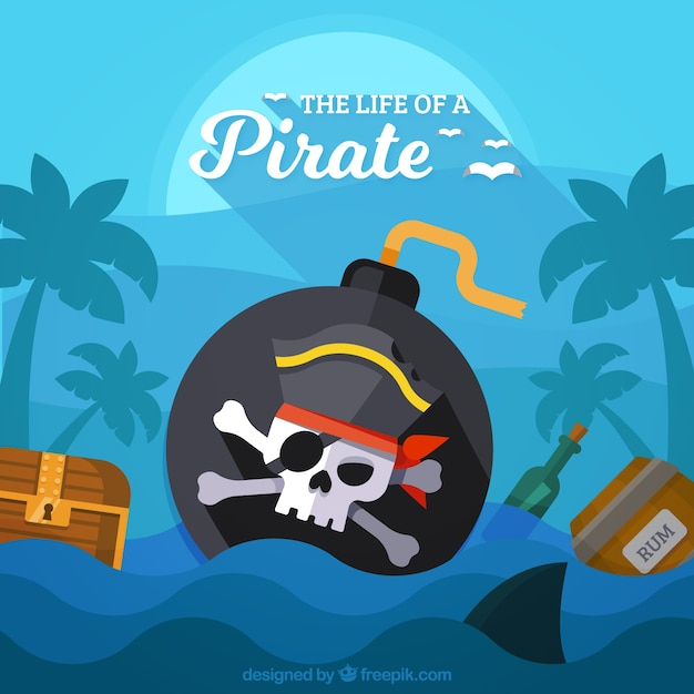 Pirate bomb background in the sea vector free download for Design couchtisch hn 777