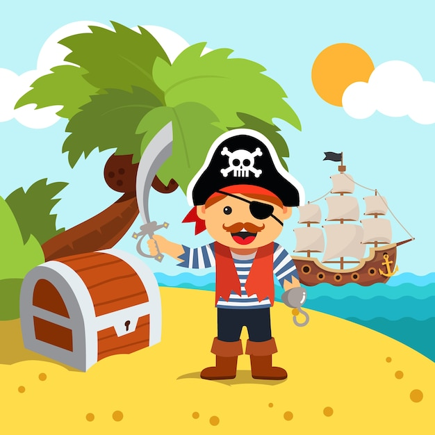 Pirate captain on island shore with treasure chest Free Vector