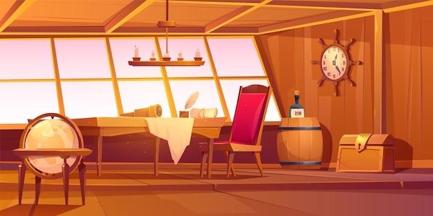 Pirate captain ship cabin interior Free Vector