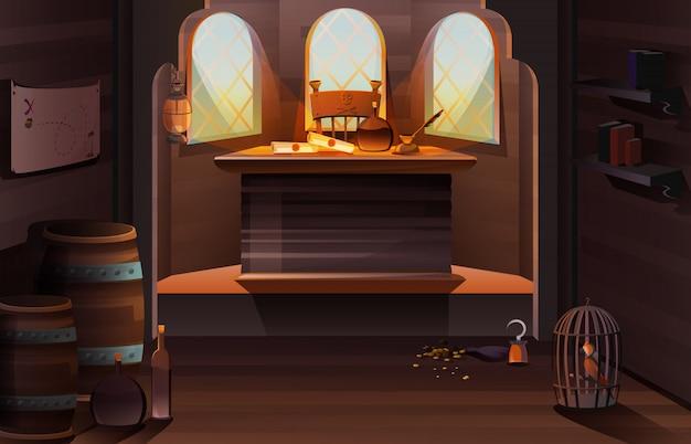 Pirate captain ship cabin wooden room interior Free Vector