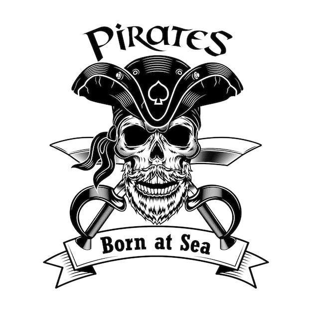 Illustrazione vettoriale di capitano pirata. teschio in cappello da pirata vintage con sciabole incrociate e testo nato in mare. Vettore gratuito