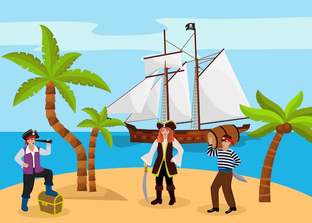 Pirate captain woman and man carries rum character bandit team found treasure chest flat vector illustration. tropical island palm tree beach. Premium Vector