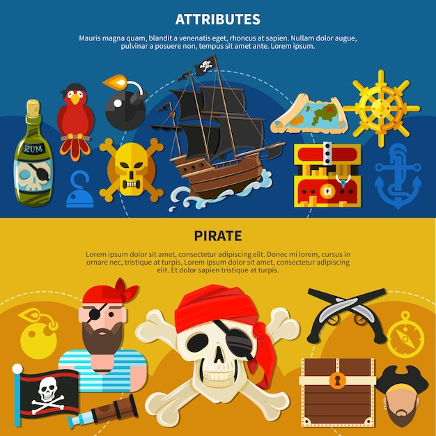 Pirate cartoon banner set with bearded sailor in bandana with eye patch illustration Free Vector
