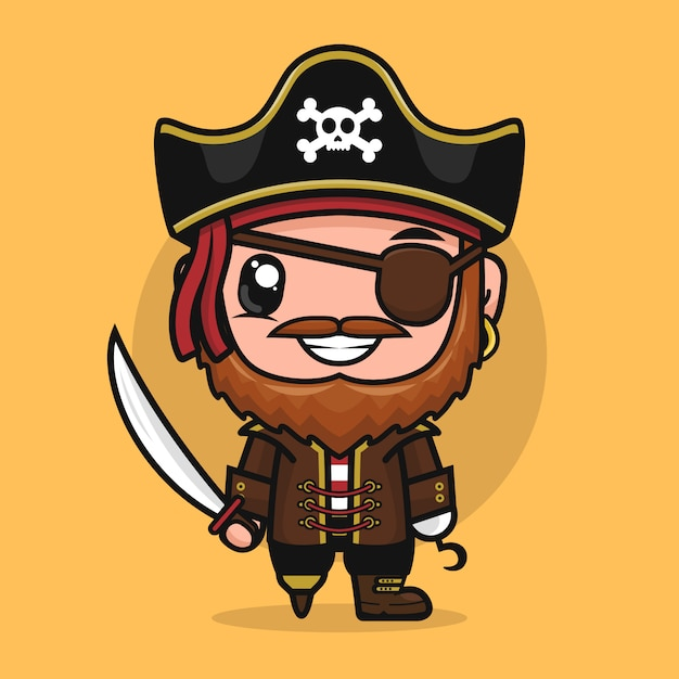 Premium Vector Pirate Cartoon Character Captain Bandit Mascot Illustration
