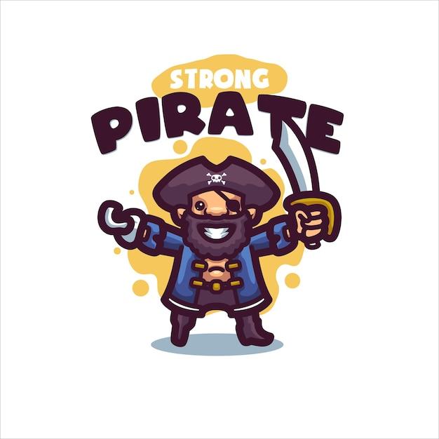 あなたの会社の海賊漫画のロゴ Premiumベクター