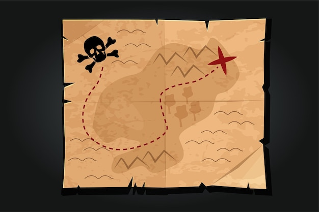 Pirate cartoon vintage paper treasure map with a skull. way or road to find the pirate treasure. Pre