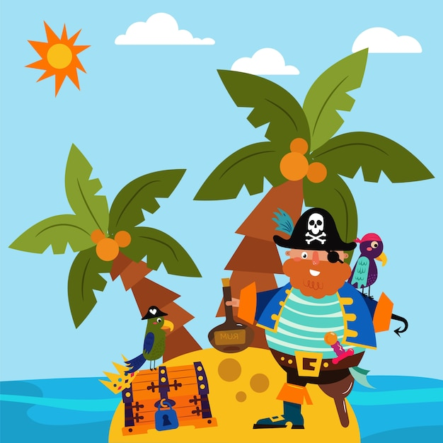 Pirate character male standing alone island, parrot bird flat vector illustration. insular treasure chest, palm tree tropical beach and ocean side. Premium Vector