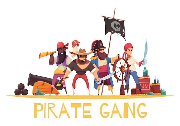 Пиратская композиция в мультяшном стиле с человеческими персонажами пиратов с боеприпасами и оружием с текстом Бесплатные векторы