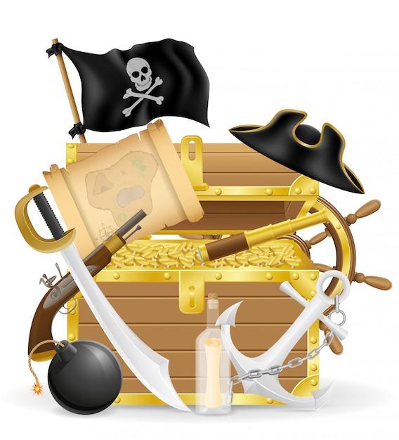 Pirate concept elements vector illustration Premium Vector