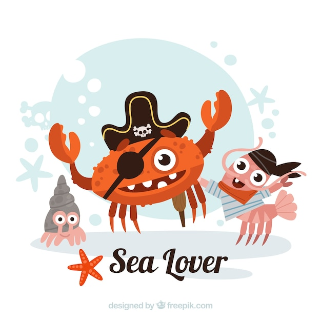 pirate crab and friends background vector free download