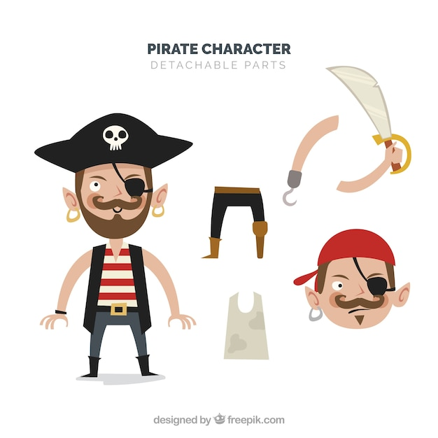 Pirate detachable character Free Vector