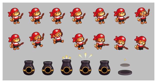 Pirate dog and cannon game sprites Premium Vector