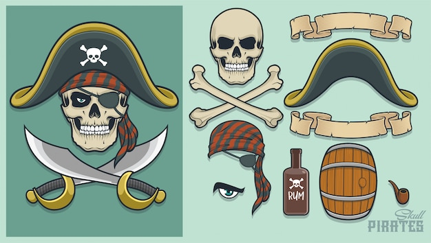 Pirate elements for creating mascot and logo Premium Vector