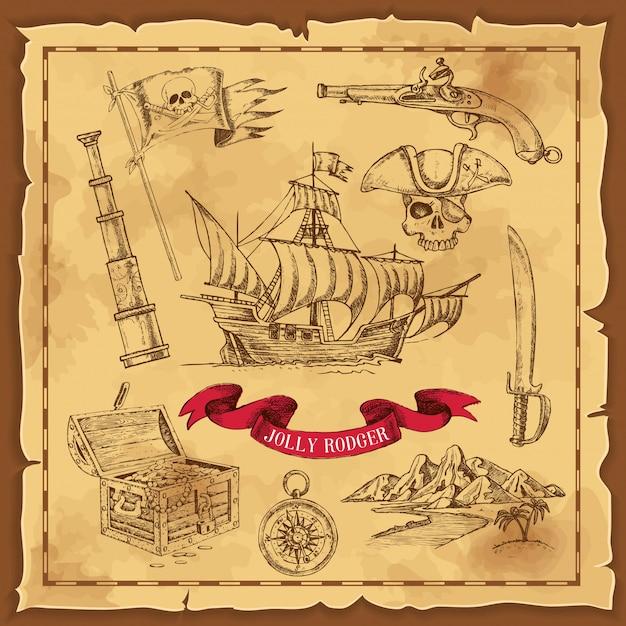 Illustrazione disegnata a mano di elementi pirata Vettore gratuito