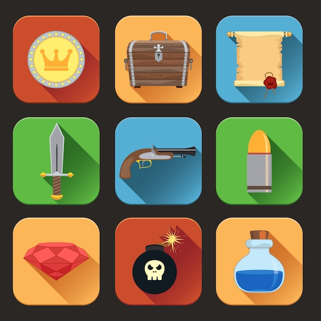 Pirate elements icons collection Free Vector