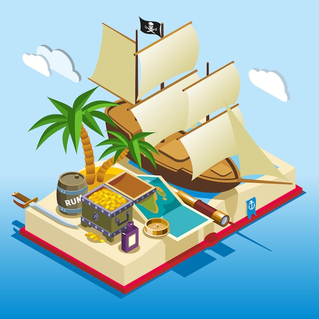 Pirate elements isometric game composition Free Vector