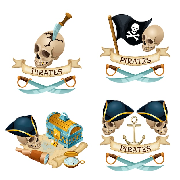 Pirate elements with skull and knives. Premium Vector