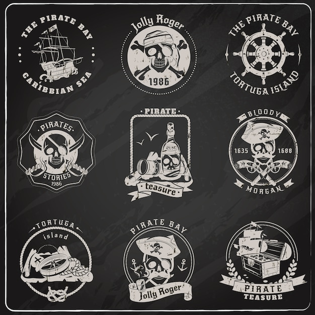 Pirate emblems blackboard chalk set Free Vector