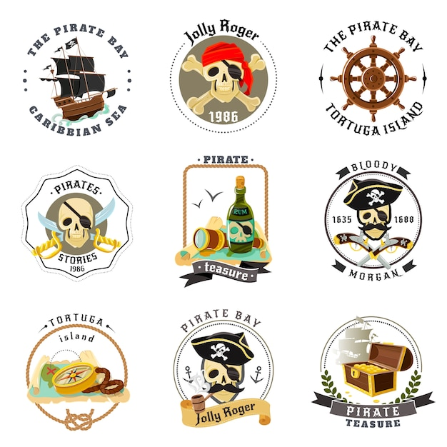 Pirate emblems stickers set Free Vector