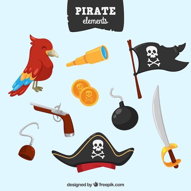 Pirate flag collection and other elements Free Vector