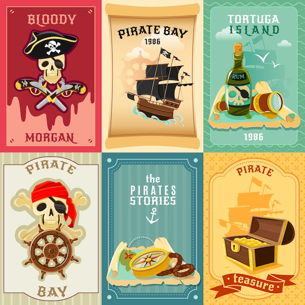 Pirate Flat Icons Composition Poster Free Vector
