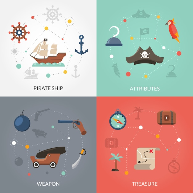 Pirate flat set Free Vector