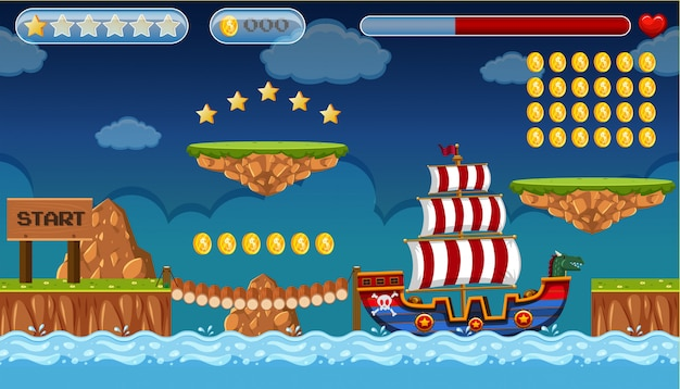 A pirate game template island scene Vector | Premium Download