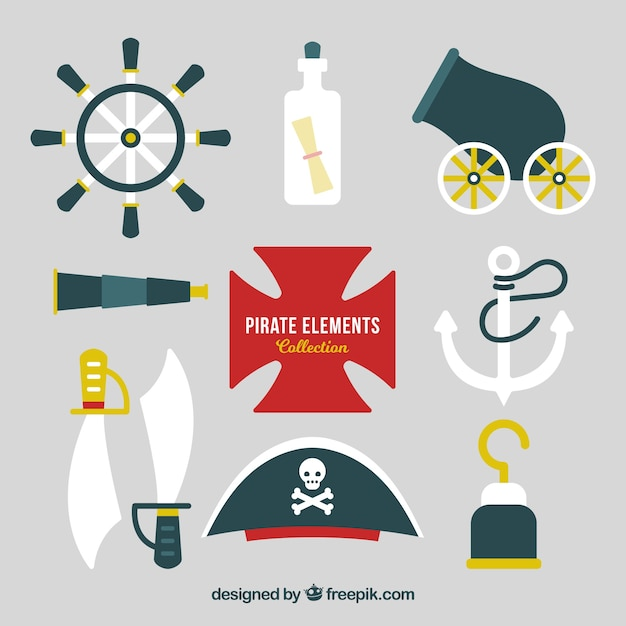 Pirate hat collection with elements in flat design Free Vector