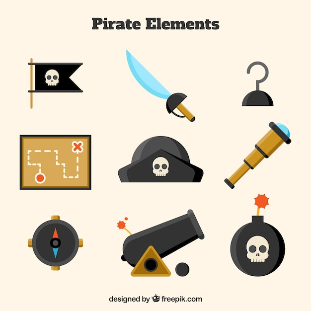 Pirate hat with other elements in flat design Free Vector