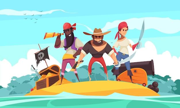 Пиратский горизонт с видом на остров и драгоценностями мультфильма и сокровищами с людьми Бесплатные векторы