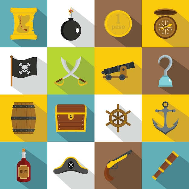 Pirate icons set, flat style Premium Vector