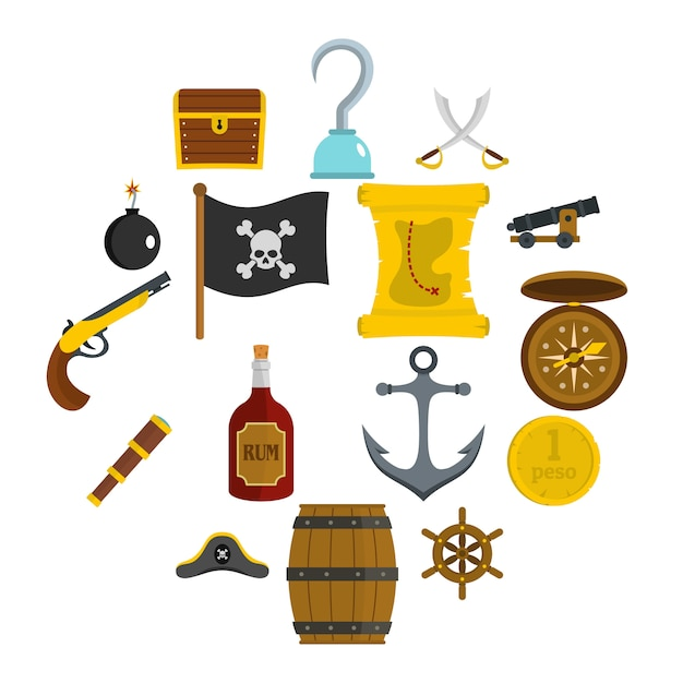 Pirate icons set in flat style Premium Vector