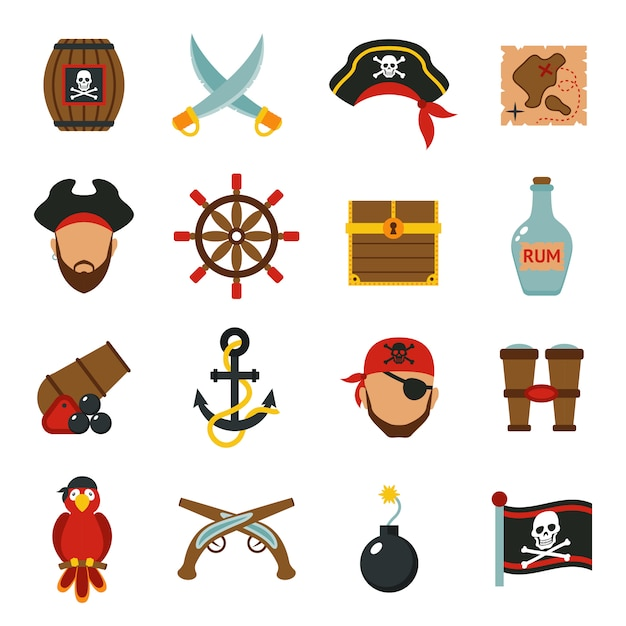 Pirate icons set flat Free Vector