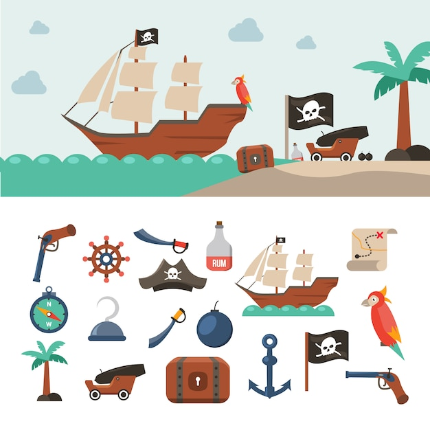 Pirate icons set Free Vector
