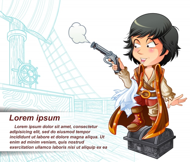 Pirate is carrying gun in sketched pirate ship. Premium Vector