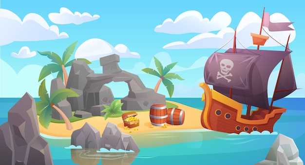Pirate island landscape with piratical ship and treasure Premium Vector