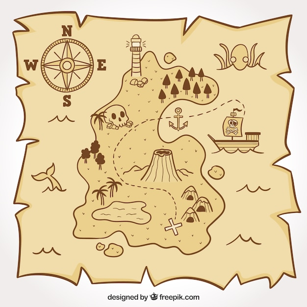 Pirate map for the treasure hunt Free Vector